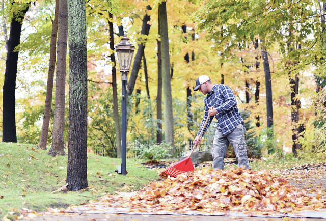 Tyler Sollmann, of Sidney, rakes Fall leaves from his grandparent's driveway onto a tarp. Sollmann was working his way up the steep driveway, located on Plum Ridge Trail, by dragging the tarp with him as he raked the leaves on Tuesday, Oct. 20.