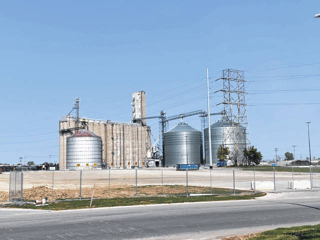 The southern side of the former Landmark grain facility that will soon be demolished shows the large metal silo designed to hold 320,000 bushels of grain. It was was built in 1975. Building No. 2, containing 12 concrete silos, each designed to hold 89,000 bushels of grain, constructed in 1967, also will be demolished this fall. The world's largest trackhoe will be utilized for the demolition.