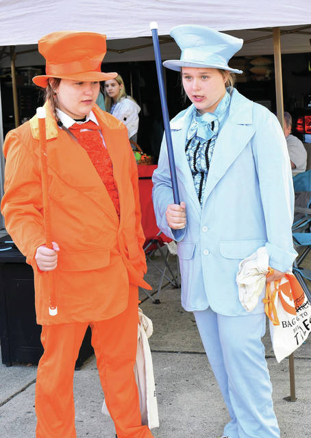Tylee (13) and Nylah Hale (13) of Sidney go trick or treating as Loyd Christmas and Harry Dunn from the movie Dumb and Dumber   -  they are the daughters of Johnathan and Stefanie Hale, Sidney
