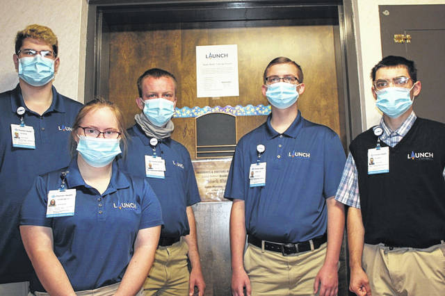 Launch interns, left to right, are Caleb Watercutter, of Fort Loramie; Courtney Hoehne, of Anna; Mason Whitby, of Tipp City; Jarrett Waters, of Sidney; and Elijah Holsapple, of Anna.