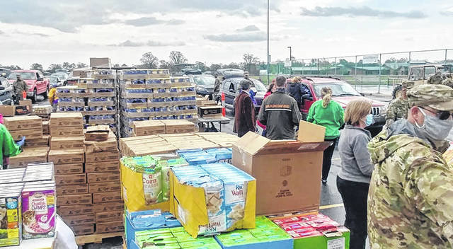 A variety of food products were trucked to a recent food drive sponsored by Agape Distribution. The food pantry will use Match Day gifts to offset trucking costs for donated food.