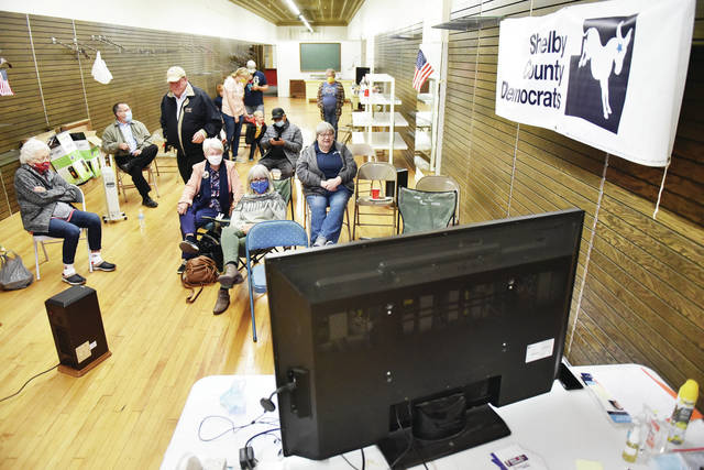 People watch early poll returns at the Shelby County Democratic Party Headquarter on Tuesday, Nov. 3. Drinks, snacks and grilled hotdogs were served.