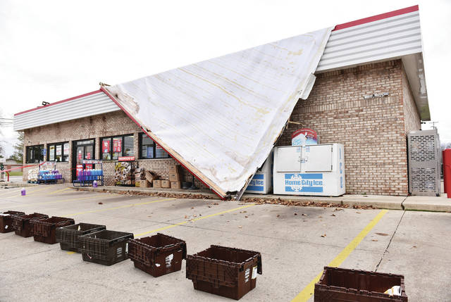 The Speedway located at the intersection of St. Marys Avenue and W Russell Road lost part of its roof during high winds on Sunday, Nov. 15. Power outages were also reported around Sidney. The gas station remained open despite the damage.