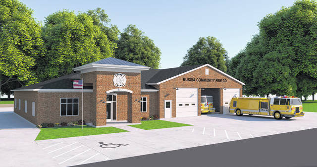 A rendering provided by the Russia Community Fire Company shows the proposed design for the renovations and additions to the firehouse in Russia.