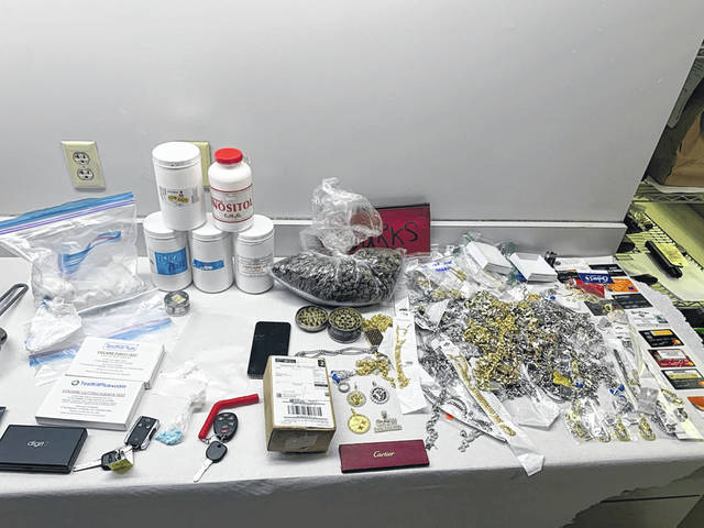 Shelby County Sheriff's deputies on Nov. 11 found 700 grams of cocaine, 300 grams of marijuana, 30 oxycodone pills, drug testing kits, drug cutting agents, scales, a large amount of jewelry and credit cards inside a 2019 Chevy pickup that crashed into the back of a residence at 10011 Millcreek Road. The driver of the truck remains at large. The incident remains under investigation.