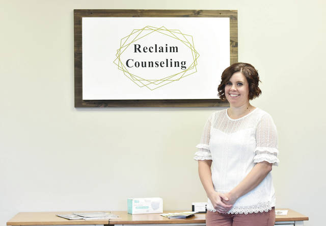Emily Sherwood, of Sidney, is pictured in her Reclaim Counseling office located at 806 W. Russell Road.