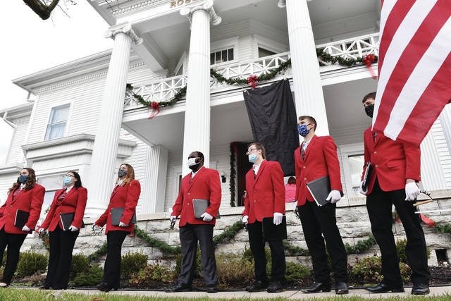 Fairlawn students sing carols in front of the Ross Historical Center during the 21st Annual Christmas of Yesteryear on Saturday, Dec. 5.