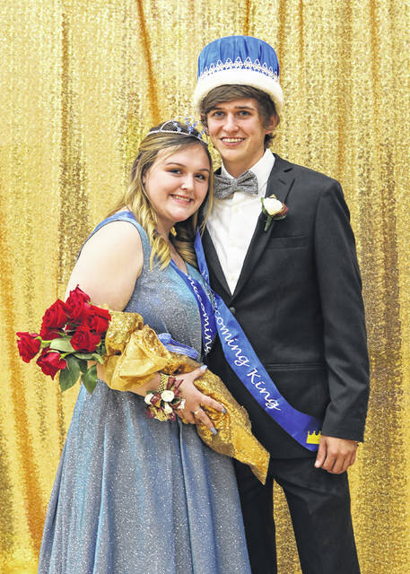 The Fairlawn homecoming king and queen crowned Friday night prior to the start of the Jackson Center vs Fairlawn boys basketball game. Zoey Douglas, 17, daughter of Brian and Danelle Douglas, of Sidney, was crowned queen. Allan Asher, 17, son of Nick Asher and Tracy Asher, of Sidney, was cro9wned king.