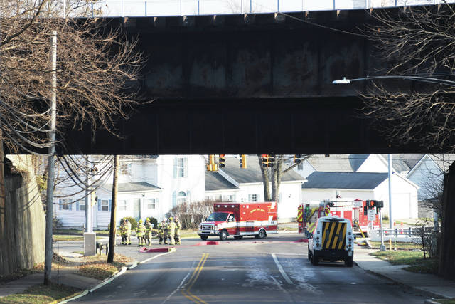 Sidney firefighters respond to a gas leak at the intersection of Fair Road and West Water Street around 9:45 a.m. on Wednesday, Dec. 9.