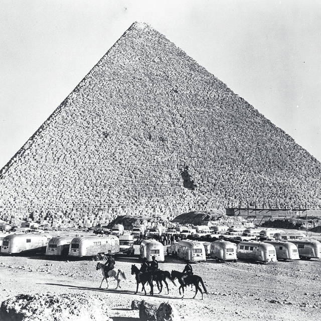 A caravan of Airstream trailers traveled from Cape Town, South Africa to Cairo, Egypt, a journey of more than 12,000 miles. The caravan finished at the pyramids of Giza.