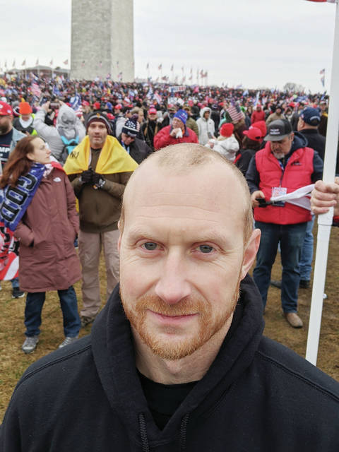 Drew Cable, of Sidney, is pictured at a rally in Washington, D.C., on Wednesday, Jan. 6.