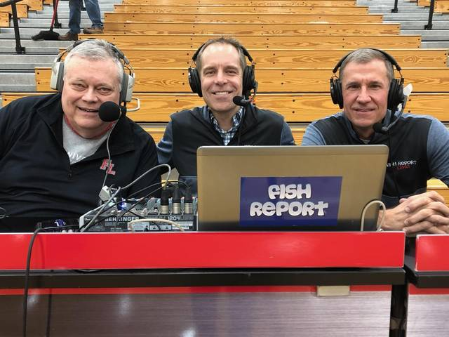 Recently discovered second cousins Dave Ross (left) and Craig Fiessinger teamed up with Ken Francis (right) to stream last Friday's Russia at Fort Loramie boys basketball game on Fish Report.