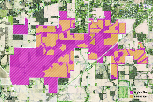 A combined map shows acreage that was originally intended to be part of the Birch Solar project in pink, vs. the revised proposed acreage in orange. The solar field generating 300 megawatts and covering 1,410 acres is proposed for southern Allen County and northern Auglaize County.