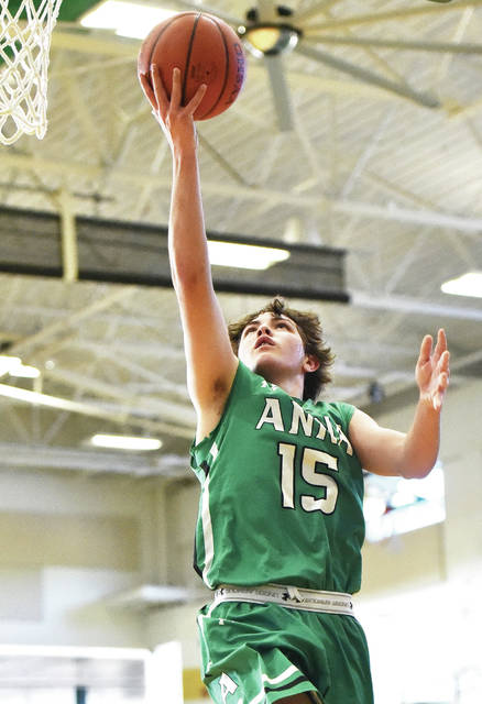 Anna junior guard McKane Finkenbine shoots during a Division III sectional final against Springfield Northeastern on Tuesday at Northmont High School in Clayton. Finkenbine scored 11 points.