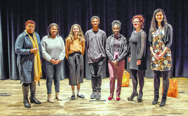 Poets from the 2020 Poetry Out Loud competition, left to right, are Sierra Leone, Sierra Wade, Chloe Proffitt, Zurie Pope, Immaculee Ingabire, Alyssa Hansen and Karen Maner.