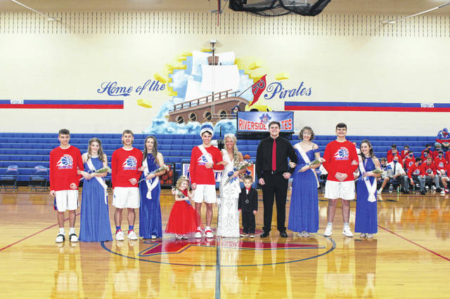 Members of the Riverside snowball court are, left to right, freshmen Michael Shockey and Makayla Mees; juniors Madelyn Sanford and Body Rhoads; Princess Madelyn Harr; King John Zumberger; Queen Allison Knight; Prince Micah Winner; seniors Max Stephens and Mya Newman; and sophomores Kaleb Schindewolf and Brooke Stevens