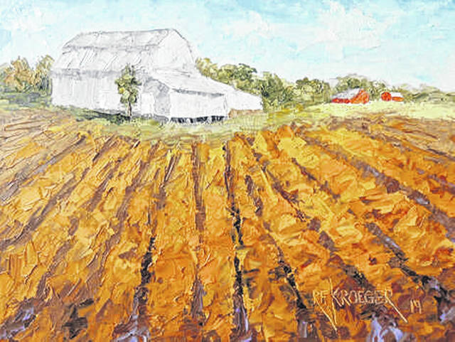 """Botkins,"" a painting by Robert Kroeger, of Cincinnati, shows an historic barn near the village of Botkins in Shelby County. The Shelby County Historical Society hopes to identify the barn's owner."