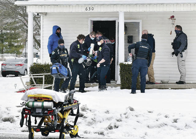 Sidney firefighters remove Brianna Wilson, 27, a stabbing victim from a home at 630 Fourth Avenue which is kitty corner from Longfellow Primary School. Wilson was transported to Wilson Health, where she was pronounced dead. The incident was reported around 1:15 p.m. on Friday, Feb. 5. Sidney Police also responded to the scene. The case remains under investigation.
