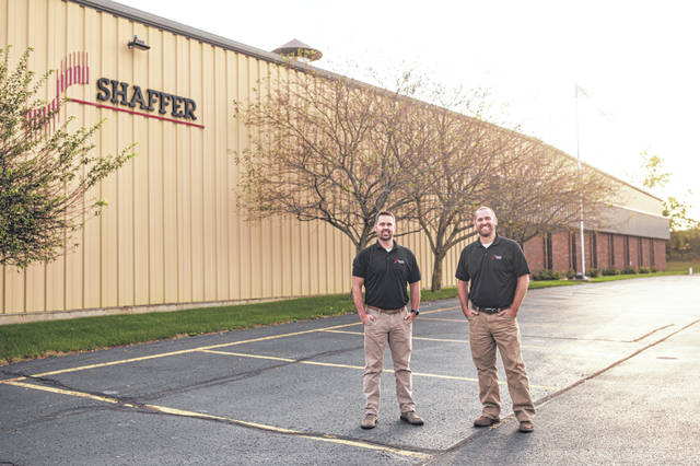 Standing in front of Shaffer Metal Fab Inc. are new owners Ryan Shaffer, left, and Chad Geuy.