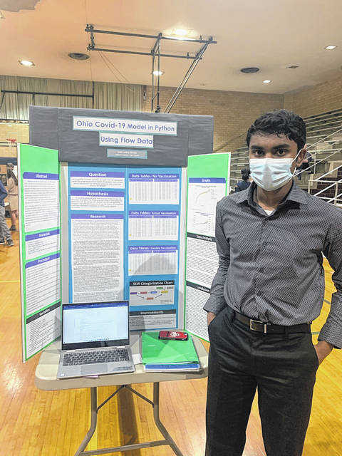 Adith George received Lehman's highest rating of 39.5 for creating a python model of COVID-19 progression based on flaws.