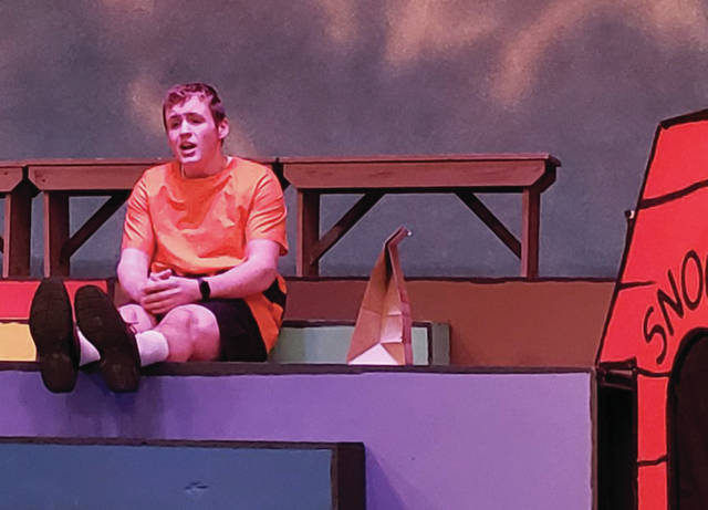 """Dylan Seigle sings during a dress rehearsal of """"You're a Good Man Charlie Brown'. Seigle will be playing Charlie Brown in the Anna High School Drama Club's production of the musical, to be held March 12 through 14."""