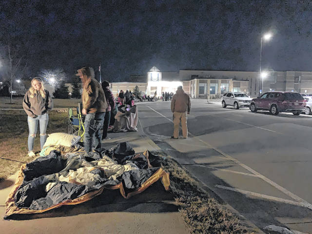 Botkins fans began lining up at the school at 2 a.m. Saturday morning for a chance to purchase a ticked for the state championship game Sunday morning. Tickets went on sale at 8 a.m.