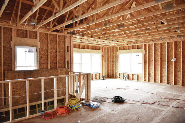 An inside view of a house under construction by Eisenhardt Homes on Stoker Road.