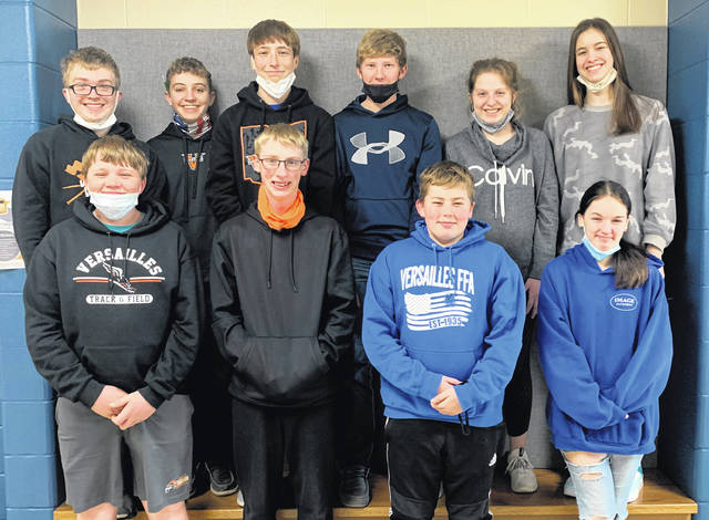 The Versailles FFA eighth graders competed in the state online GreenHand Quiz CDE on March 2. The team placed 53 out of 149 teams in the state. Leading for Versailles was Collin Batten followed by Emmit DeMange, Luke Kaiser, and Taylor Wagner. Other team members included Owen DeMange, Lincoln Winner, Karlie Litten, Dylan Dunn, Will Bohman, and Haylee Lewis. Bottom row (L to R): Will Bohman, Dylan Dunn, Collin Batten, and Haylee Lewis. Top row: Owen DeMange, Emmit DeMange, Luke Kaiser, Lincoln Winner, Karlie Litten and Taylor Wagner.