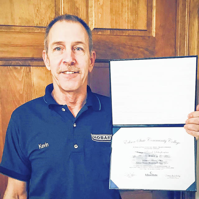 Kevin Schieferstein is the first graduate of the Hobart Service Associate of Technical Study degree pathway.