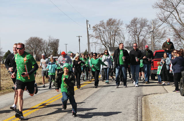 The Irish Jog gets started in St. Patrick at 11 a.m. Saturday, March 13. Participants jogged and walked to McCartyville.