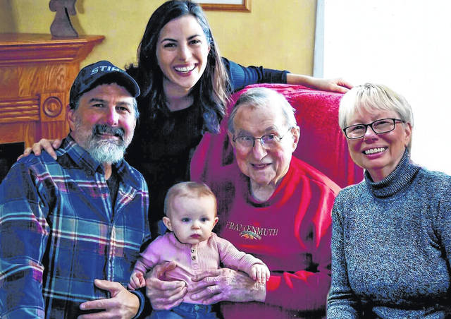 Five generations of Frank Thaman's family recently gathered for a family photograph. Pictured are, left to right, grandfather Tim Scully; mother Megan Herschberger; great-great-grandchild Annie Herschberger; great-great-grandfather Frank Thaman; and great-grandmother Kate Reed.