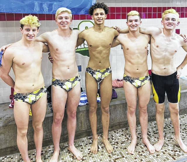 Sidney High School swimmers, left to right, Jarret Payne, Jaden Humphrey, Jahvon Lloyd, Badin Brewer, Tyler Overholser were honored Monday night by the Sidney City Schools Board of Education for their accomplishments this year. They are shown here at the state championships.