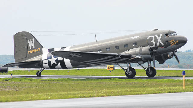 Buy a $249 ticket for a ride in this C-47 airplane at Grimes Field on April 19.