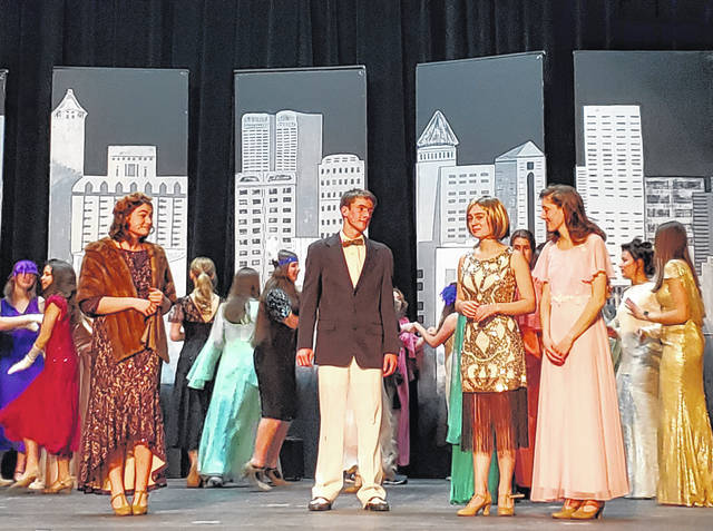Carianne Rindler as Muzzy, Thomas Schmiesing as Jimmy, Pyper Sharkins as Millie and Agnes Schmiesing as Dorothy rehearse for Lehman Catholic High School's musical.