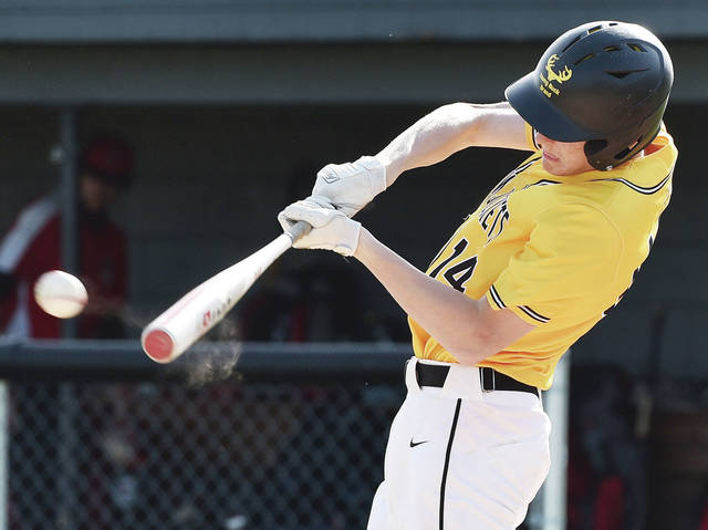 Sidney's Mitchell Davis hits during a Miami Valley League Valley Division game against West Carrollton on Tuesday in Sidney. Davis was 3 for 3 with 2 RBIs, one double and one triple.