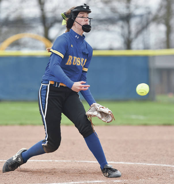 Russia's Makena Hoying pitches during a Shelby County Athletic League game on Thursday in Russia.