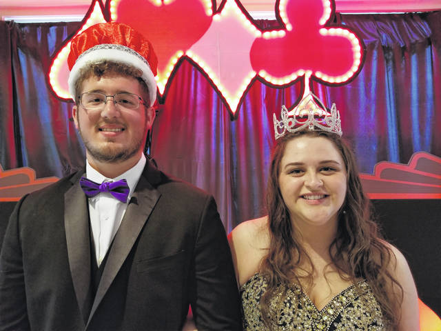 """Houston High School crowned its royalty during its """"A Night in Vegas: Cody Selanders was crowned king and Makayla Brelsford was crowned queen. Selandeers is the son of Jamie and Connie Selanders, Brelsford is the daughter of Randy Brelsford Jr. and Jennifer Brelsford."""