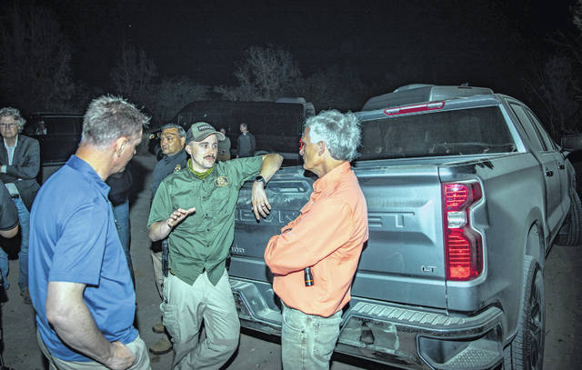 U.S. Rep. Bob Latta talks with border patrols.