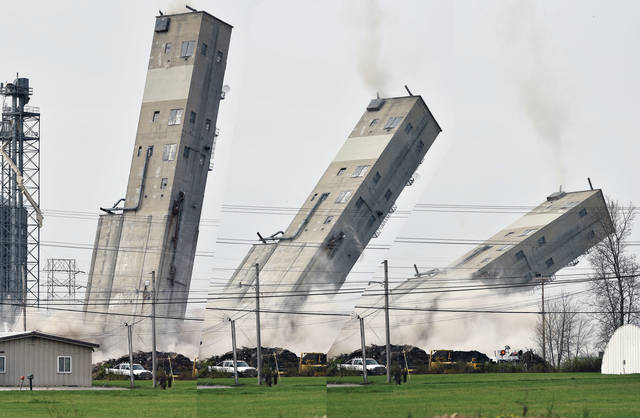 The grain elevator, located on South Vandemark Road and owned by Cargill, was toppled with the help of explosives a few minutes before 10 a.m. on Saturday, April 10. The grain elevator was built in 1955 along with 12 concrete silos that were previously torn down. The grain elevator has been a major landmark in Sidney since it was built.