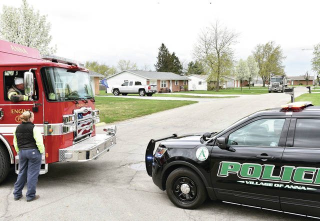 Access onto Millette Avenue from Mill Street is blocked by an Anna Fire truck and an Anna Police vehicle Thursday, April 15, shortly after 1 p.m. as other firefighters investigate a struck gas line down the road.