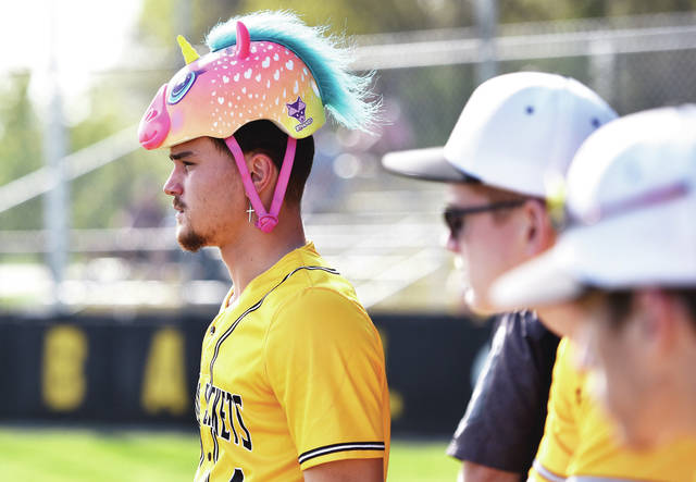 Sidney's EJ Davis wears the team's rally cap during Sidney's game against West Carrollton at Sidney on Tuesday, April 27. The players sometimes put the cap on if they score.