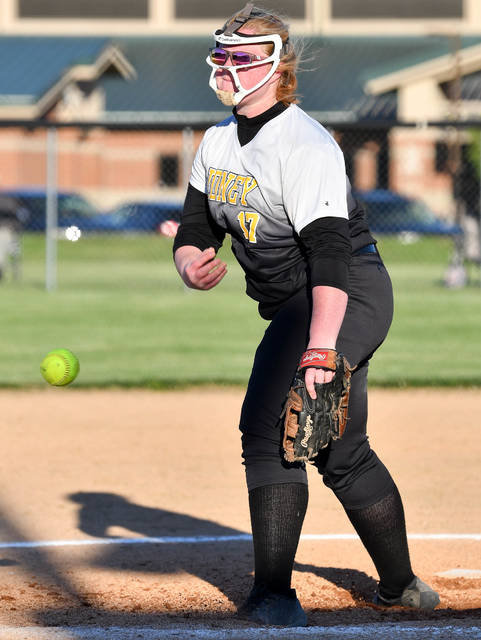 Sidney junior pitcher Alli Milanese pitches during a Division I sectional final against Bellbrook on Wednesday in Sidney. Milanese has led the squad at the plate this year. She has hit a program single-season record seven home runs and has 33 RBIs to her credit. She has a .432 batting average and .511 on-base percentage.