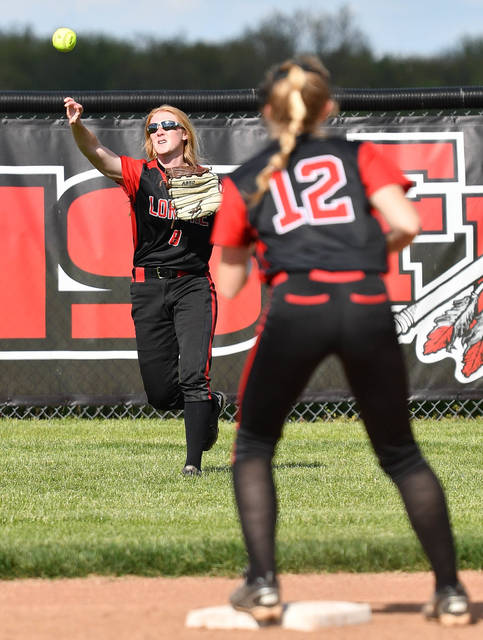 Fort Loramie junior center fielder Aubrey Baker throws to shortstop Jaden Rose at second base during a Division IV sectional final against Ansonia on Thursday in Fort Loramie.
