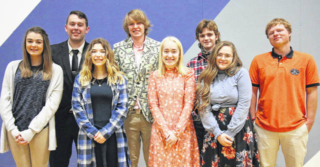 Members of Christian Academy Schools Class of 2021 are, front row, left to right, Brooke Fishback, of Piqua, Laurel Chalfant, of Sidney, Estella Hainline, of St. Marys, and Cassidy Rhoades, of Piqua; and back row, Jeffrey Blackford, of Sidney, Addison Morris, of Botkins, James Paul Adkins, of Sidney, and Zachary Carter, of Houston.