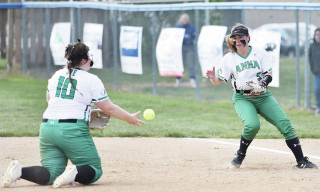 Anna's Taylor Dye, left, tosses the ball to Brielle Collier at first base during a Division III sectional final against Miami East on Wednesday in Casstown. Dye hit one double.
