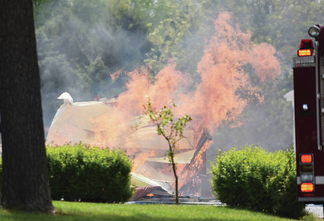 A large shed on State Route 29 burned to the ground around 3:15 p.m. on Tuesday, May 18. Anna, Botkins and Van Buren TWP firefighters responded but the barn had already collapsed.