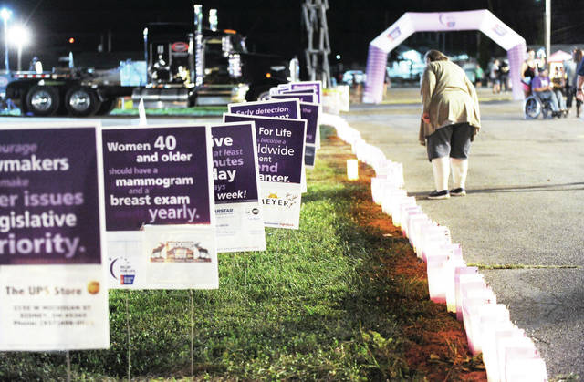 In 2019, luminaries lined the the track at the Shelby County during the Relay for Life. This year, the Relay for Live will move to courtsquare in downtown Sidney and the luminaries will surround the Shelby County Courthouse.