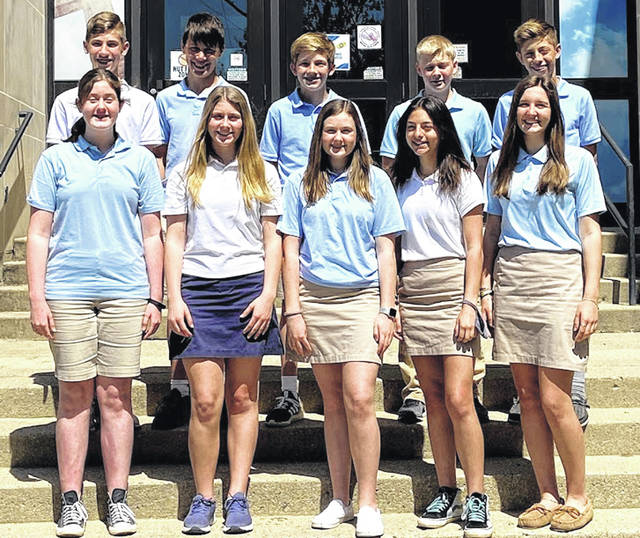 Members of the Holy Angels eighth-grade graduating class are, front row, Audrey Flaute, Sophia Magoteaux, Eliza Westerheide, Anya Kolb and Layla Platfoot; and top row, Alex Lundy, Jeremiah LaForme, Colin Potts, Dillon Schmiesing and Brennan Potts.