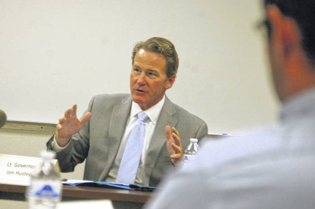 Ohio Lt. Gov. Jon Husted speaks to business and community leaders at an In-Demand Jobs Week roundtable discussion Friday afternoon at Ferguson Construction in Sidney.