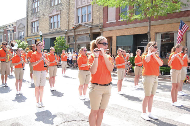 The Versailles High School Marching Band at the 2018 Versailles Poultry Days parade